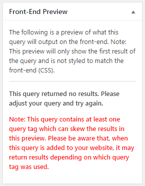 Query Builder Preview - No Results Notice